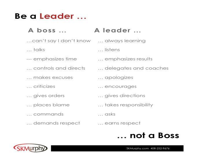 SKMurphy Be a Leader Not a Boss