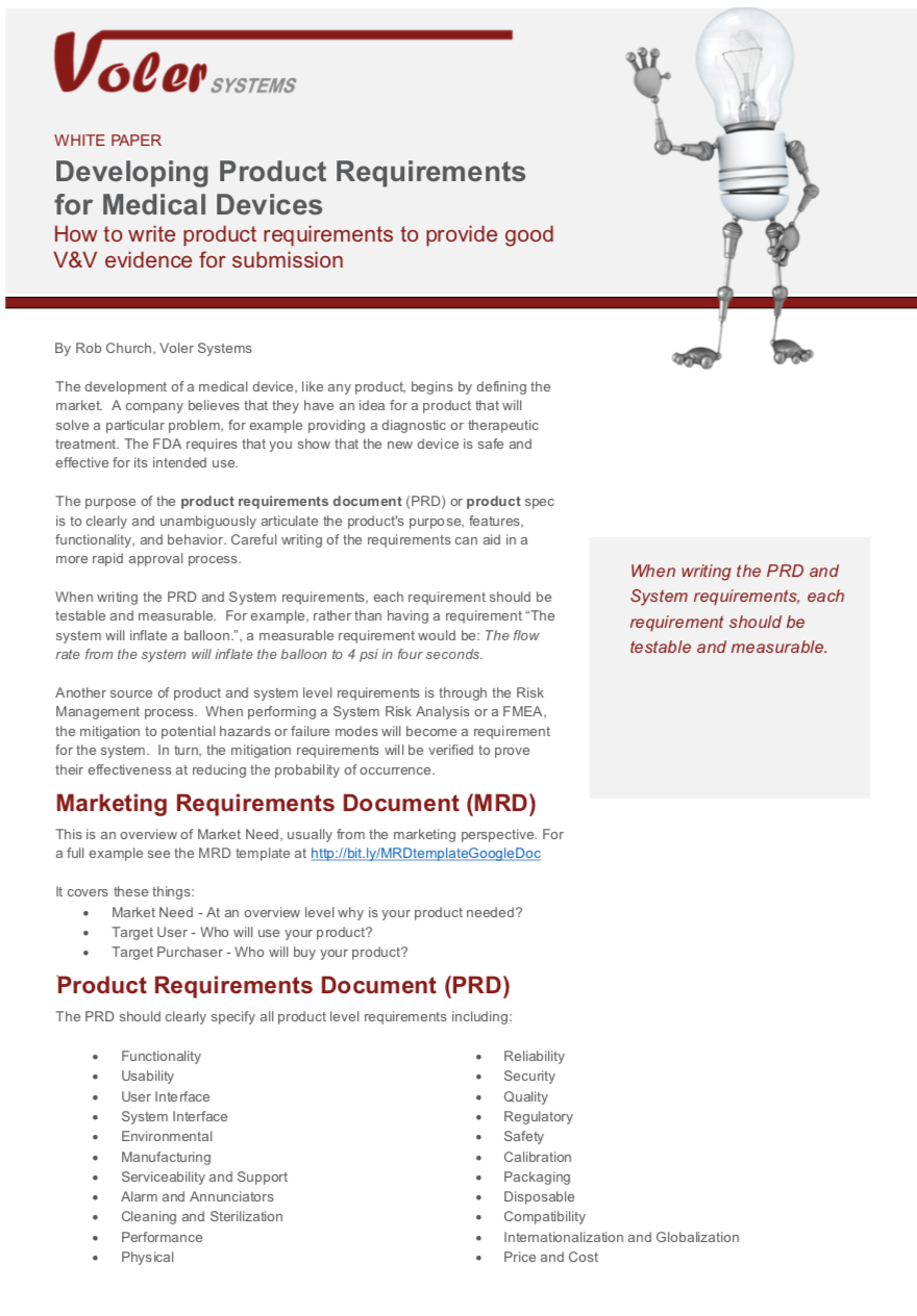 product requirements medical devices