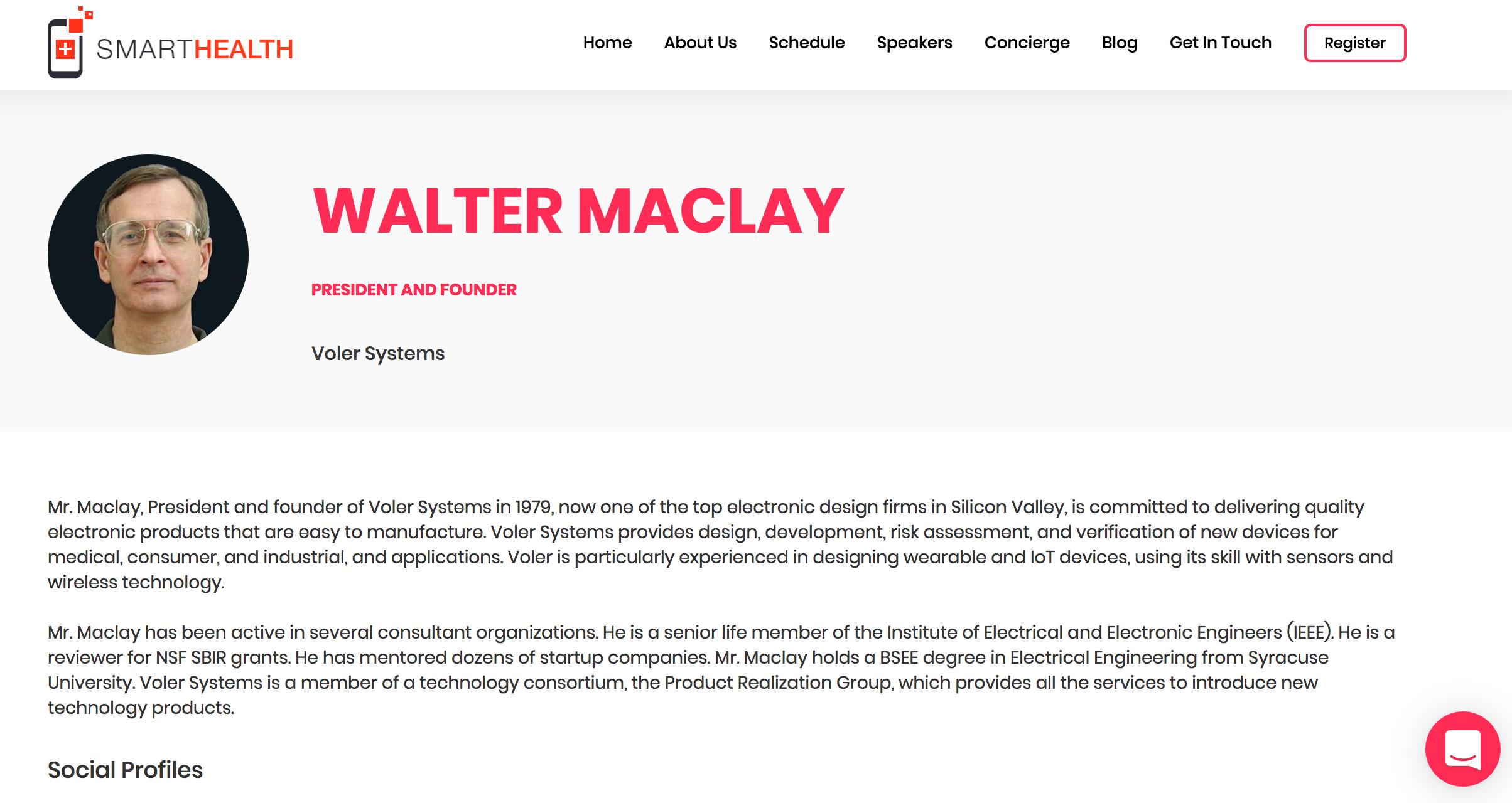 Walt Maclay Smart Health 2018